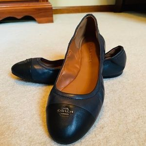Coach navy and black ballet flats